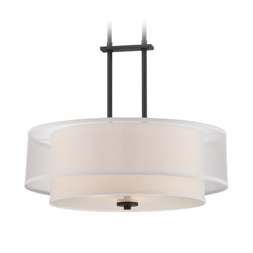 Designers Fountain Lighting Designers Fountain Fusion Biscayne Bronze Pendant Light with Drum Shade 86131-BBR