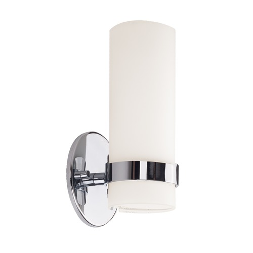 Kuzco Lighting Modern Chrome LED Sconce with White Opal Shade 3000K 390LM WS9809-CH