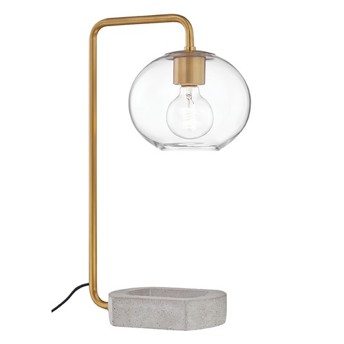 Mitzi by Hudson Valley Mitzi By Hudson Valley Margot Aged Brass Table Lamp with Globe Shade HL280201-AGB