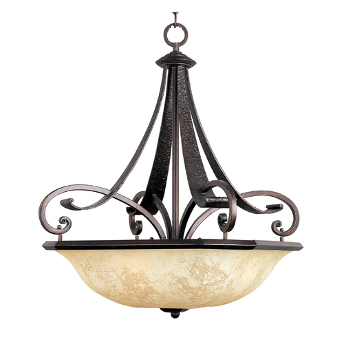 Maxim Lighting Pendant Light with White Glass in Rustic Burnished Finish 21077FLRB