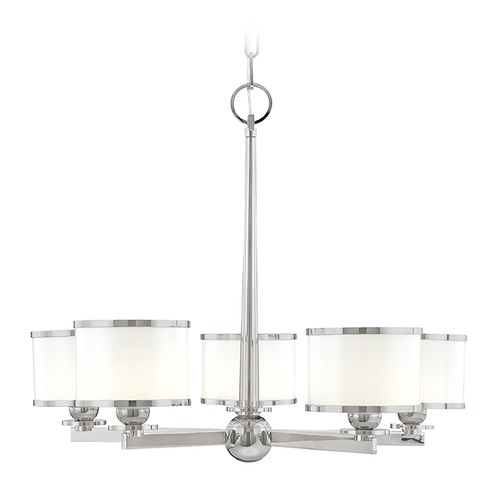 Hudson Valley Lighting Chandelier with White Glass in Satin Nickel Finish 6115-SN
