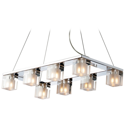 ET2 Lighting Modern Multi-Light Pendant Light with Clear Glass and 8-Lights E22036-18