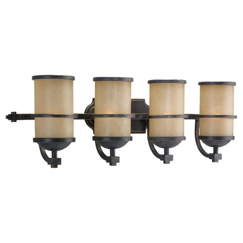 Sea Gull Lighting Nautical Bathroom Light with Four Lights in Bronze Finish 44523-845