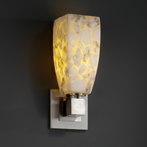 Justice Design Group Justice Design Group Alabaster Rocks! Collection Sconce ALR-8705-65-NCKL