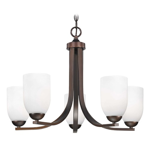 Design Classics Lighting Modern Bronze Chandelier with White Dome Glass Shades and Five Lights 584-220 GL1028D