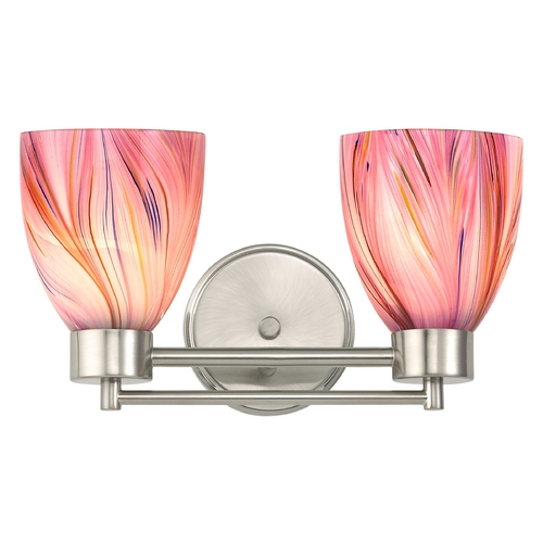 Design Classics Lighting Modern Bathroom Light with Pink Art Glass in Satin Nickel Finish 702-09 GL1004MB