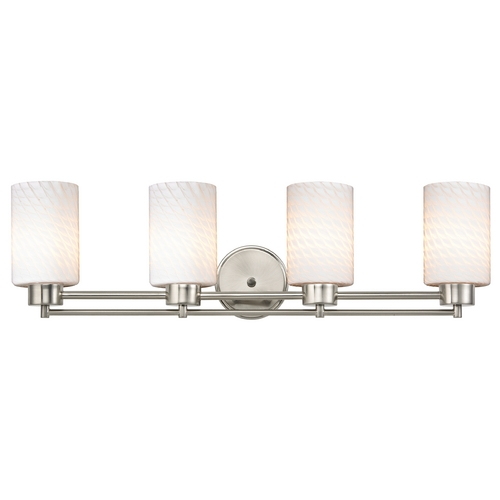 Design Classics Lighting Modern Bathroom Light with White Glass in Satin Nickel Finish 704-09 GL1020C
