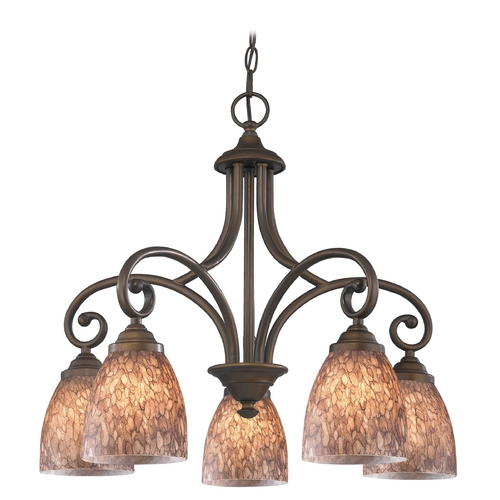 Design Classics Lighting Chandelier with Brown Glass in Neuvelle Bronze Finish 717-220 GL1016MB