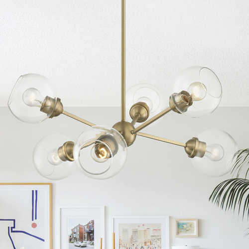 Design Classics Lighting Design Classics Haus Aged Brass Chandelier with Clear Glass Shades 1832-AB G1832-CL