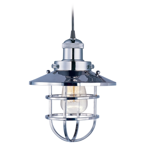 Maxim Lighting Maxim Lighting Mini Hi-Bay Polished Nickel Mini-Pendant Light with Coolie Shade 25030PN/BUI