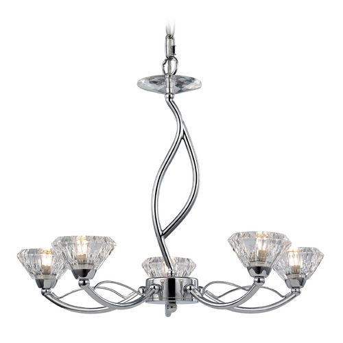 Elk Lighting Modern Mini-Chandelier with Clear Glass in Polished Chrome Finish 46149/5