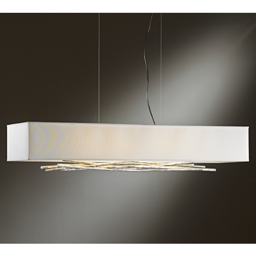 Hubbardton Forge Lighting Hubbardton Forge Lighting Brindille Vintage Platinum Island Light with Rectangle Shade 137663-82-592