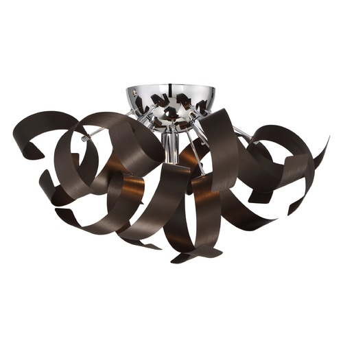 Quoizel Lighting Mid-Century Modern Flushmount Cluster Light Bronze Ribbons by Quoizel Lighting RBN1616WT