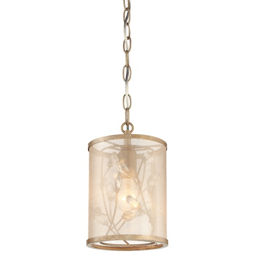 Minka Lavery Minka Sara's Jewel Nanti Champaign Silver Pendant Light with Cylindrical Shade 4431-252