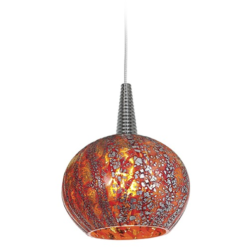 Access Lighting Modern Low Voltage LED Mini-Pendant Light with Red Glass 72980LED-BS/RRO