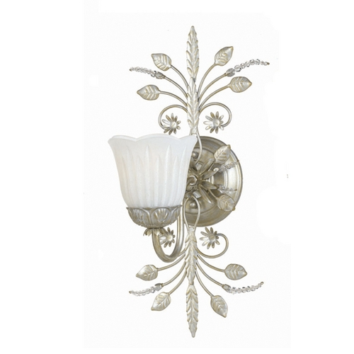 Crystorama Lighting Sconce with White Glass in Silver Leaf Finish 4741-SL