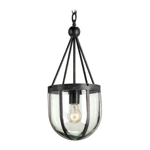 Currey and Company Lighting Modern Pendant Light with Clear Glass in French Black Finish 9910