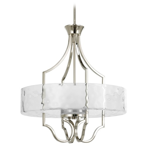 Progress Lighting Progress Drum Pendant Light with White Glass in Polished Nickel Finish P3682-104