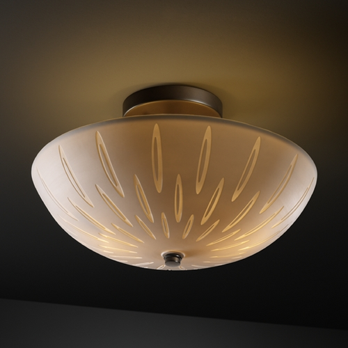 Justice Design Group Justice Design Group Limoges Collection Semi-Flushmount Light POR-8819-35-OVAL-DBRZ