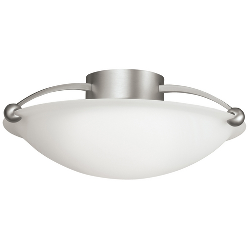 Kichler Lighting Kichler Modern Brushed Nickel Flushmount Light with White Glass 8406NI