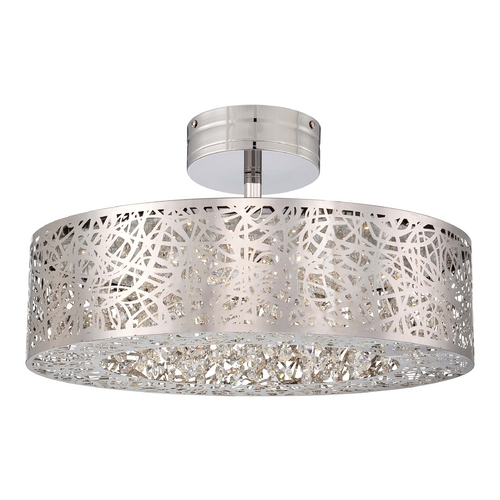 George Kovacs Lighting Modern LED Semi-Flushmount Light in Chrome Finish P985-077-L