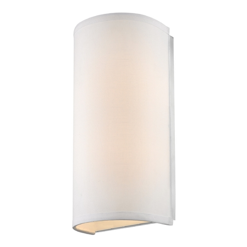 Dolan Designs Lighting Modern Sconce Light with White Fabric Cylinder Shade 284-09