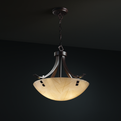 Justice Design Group Justice Design Group Flat Bars W/ Finials Family Dark Bronze Pendant Light 3FRM-9751-35-LEAF-DBRZ-F3