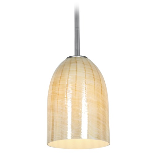 Access Lighting Access Lighting Bordeaux Brushed Steel LED Mini-Pendant Light with Bowl / Dome Shade 28018-3R-BS/WAMB