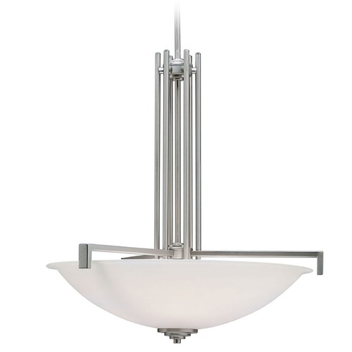 Kichler Lighting Kichler Pendant Light with White Glass in Brushed Nickel Finish 3299NI