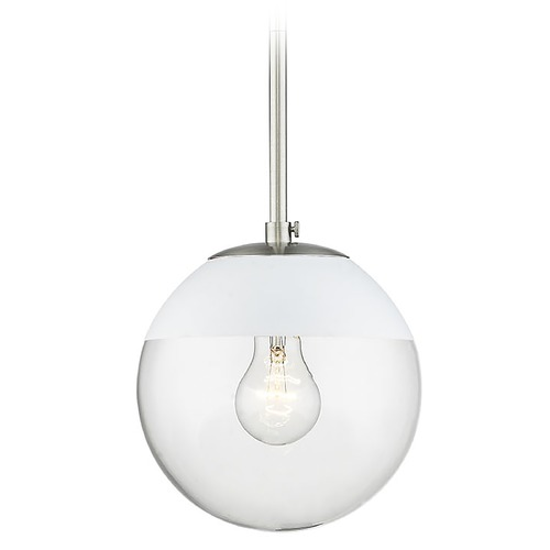 Golden Lighting Golden Lighting Dixon Pewter Mini-Pendant Light with Globe Shade and White Accent 3219-SPW-WHT