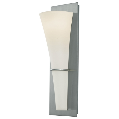 Sea Gull Lighting Modern Sconce Wall Light with White Glass in Brushed Steel Finish WB1341BS