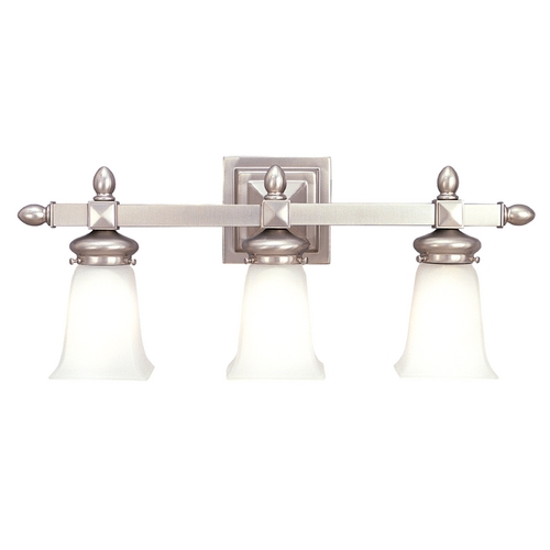 Hudson Valley Lighting Bathroom Light with White Glass in Satin Nickel Finish 2823-SN