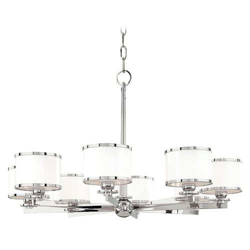 Hudson Valley Lighting Chandelier with White Glass in Polished Nickel Finish 6118-PN