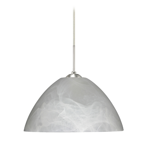 Besa Lighting Modern Pendant Light with Grey Glass in Satin Nickel Finish 1JC-420152-SN