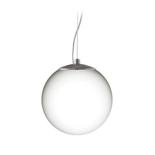 Besa Lighting Modern Pendant Light with White Glass in Satin Nickel Finish 1KX-432807-SN