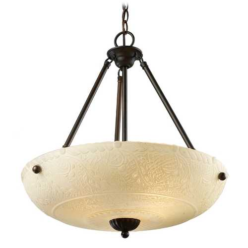 Elk Lighting Pendant Light with White Glass in Aged Bronze Finish 66322-4