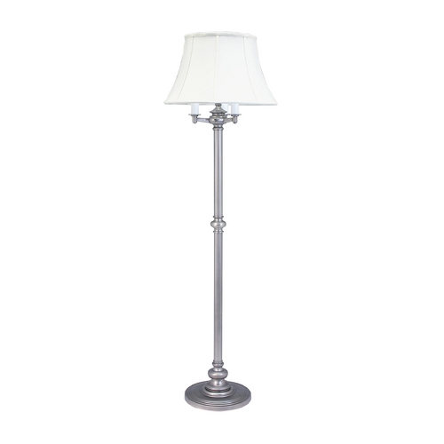 House of Troy Lighting Floor Lamp with White Shades in Pewter Finish N603-PTR