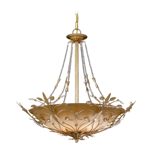 Crystorama Lighting Crystal Pendant Light with Amber Glass in Gold Leaf Finish 4700-GL