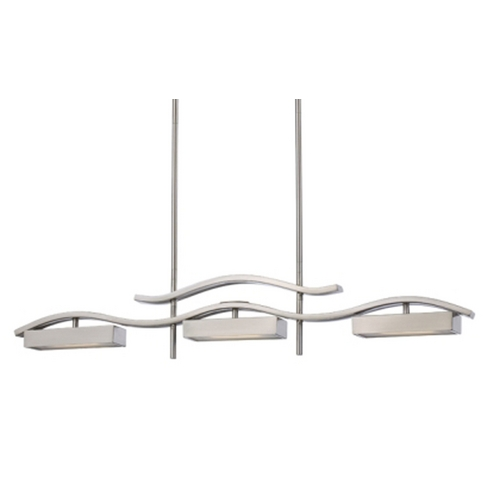 Nuvo Lighting Modern LED Island Light with White Glass in Brush Nickel Finish 62/115