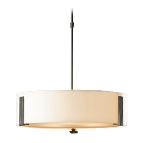 Hubbardton Forge Lighting Drum Pendant Light with White Glass in Burnished Steel Finish 136753-08-G216