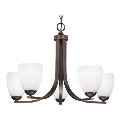 Design Classics Lighting Bronze Chandelier with Satin White Modern Bell Shades 584-220 GL1028MB