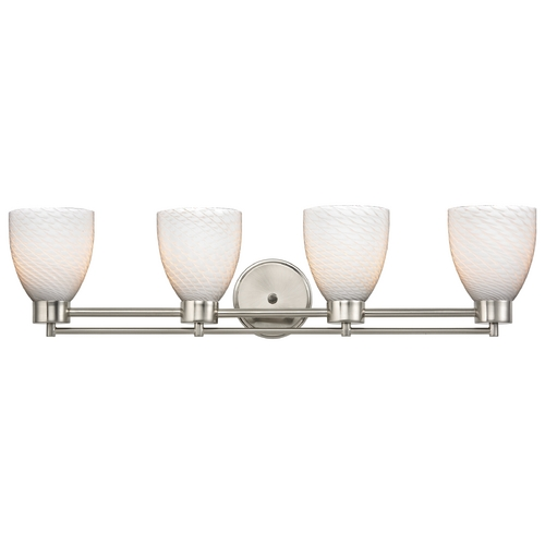 Design Classics Lighting Modern Bathroom Light with White Glass in Satin Nickel Finish 704-09 GL1020MB