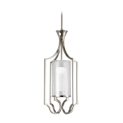 Progress Lighting Progress Pendant Light with White Glass in Polished Nickel Finish P3946-104