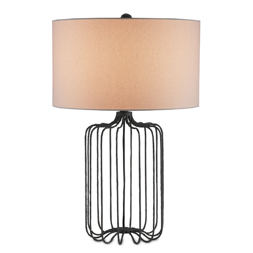Currey and Company Lighting Currey and Company Lighting Mole Black Table Lamp with Drum Shade 6786