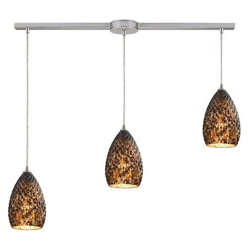 Elk Lighting Elk Lighting Geval Satin Nickel Multi-Light Pendant with Bowl / Dome Shade 10253/3L-BC