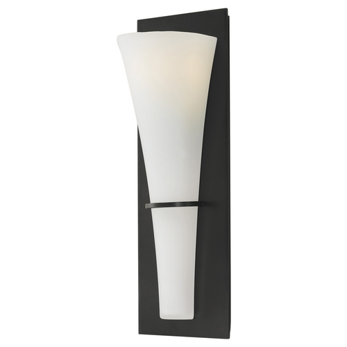 Sea Gull Lighting Modern Sconce Wall Light with White Glass in Oil Rubbed Bronze Finish WB1341ORB