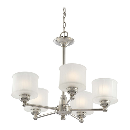 Minka Lavery Chandelier with White Glass in Polished Nickel Finish 1735-613