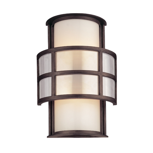 Troy Lighting Outdoor Wall Light with White Glass in Graphite Finish BF2732