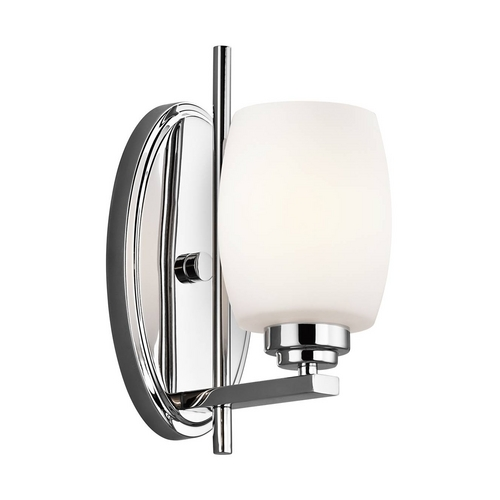 Kichler Lighting Kichler Modern Sconce Wall Light with White Glass in Chrome Finish 5096CH