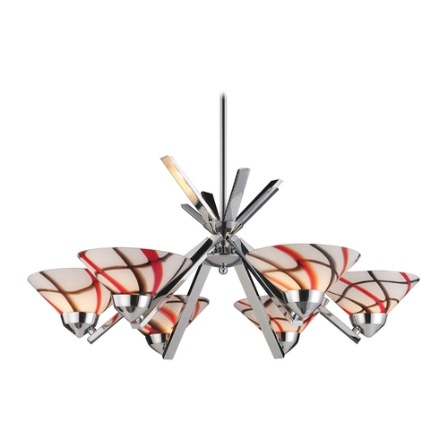 Elk Lighting Modern Chandelier with Beige / Cream Glass in Polished Chrome Finish 1475/6CRW